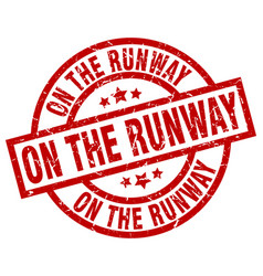on the runway round red grunge stamp vector image vector image