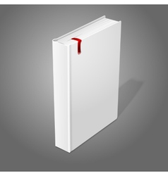 Realistic standing white blank hardcover book with vector image