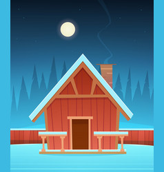 Red wooden cabin in snow vector