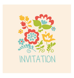 Retro style flowers in pastel color floral folk vector