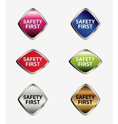 Safety first tag button set vector