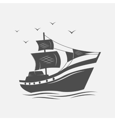 Sailing ships on the sea isolated vector image vector image