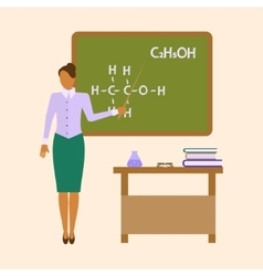 School chemistry female teacher vector
