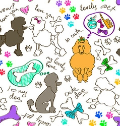Seamless pattern of poodle dogs vector