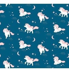 Seamless pattern with cute Unicorns stars and vector image