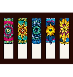 Set 2 of banners with hand drawn mandalas vector image