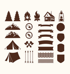 set of elements for the logo of the camp vector image vector image