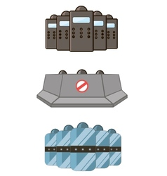 Set of police defensive and barricades vector