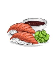 Sushi color sketch nigiri sake vector
