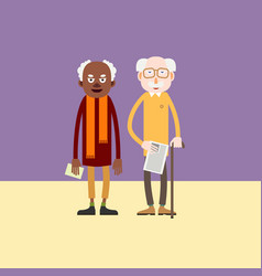 Two elderly man - african-american and white vector