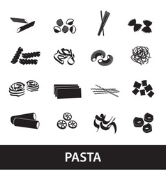 Types of pasta food eps10 vector