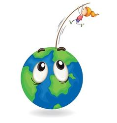 girl playing on a earth globe vector image