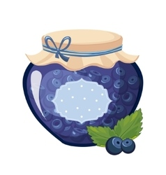 Sweet blueberry blue jam glass jar filled with vector
