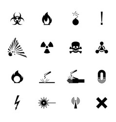 biohazard warning black signs collection isolated vector image
