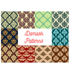 Seamless pattern set of floral damask ornament vector