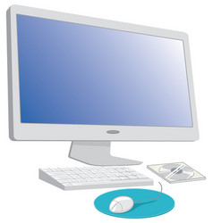 Computer with keyboard and mouse vector