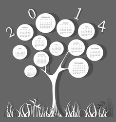 Tree calendar for 2014 year with circles vector