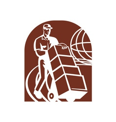 Delivery person with handcart and world global vector image