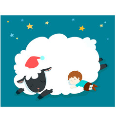 Sleeping boy with fluffy sheep vector