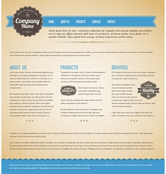 Retro vintage web page template vector