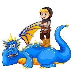 A boy taming the dragon vector image