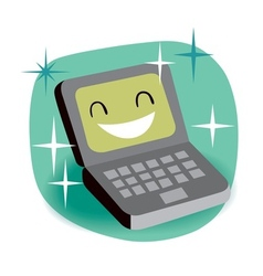 Happy laptop vector
