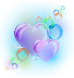 Romantic background with colorful bubble hearts vector image