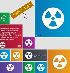 Radiation icon sign buttons modern interface vector