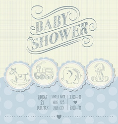 Baby boy shower card with retro toys vector