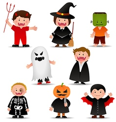 Cute halloween kids in trick or treat costumes vector