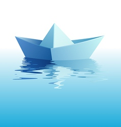 Paper ship on water vector