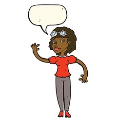 Cartoon pilot woman waving with speech bubble vector