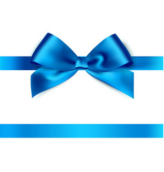 Shiny blue satin ribbon on white background vector