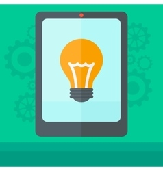 Background of digital tablet with lightbulb vector