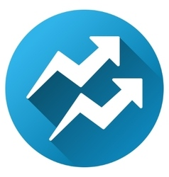 Trend arrows gradient round icon vector