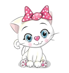 Cute cartoon white kitten vector