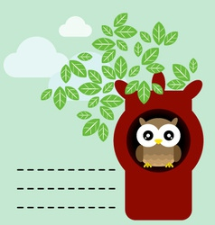 Owl in tree trunk vector