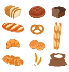 Bread icons bakery products vector