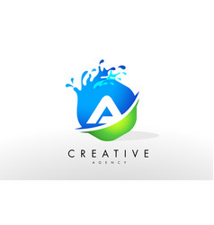 A letter logo blue green splash design vector