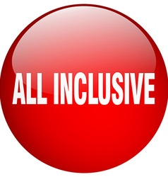 All inclusive red round gel isolated push button vector