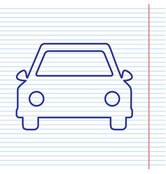 Car sign navy line icon on vector
