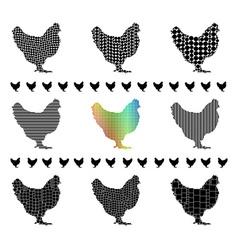 Chicken silhouette set vector