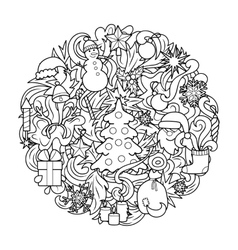 Christmas and New Year Round Pattern vector image vector image