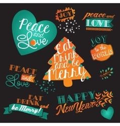 Christmas and NY lettering set vector image vector image