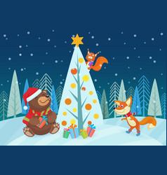 cute bear and fox animals vector image