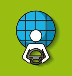 Driverless car smart and radar navigation vector