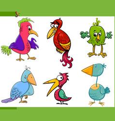 fantasy birds cartoon set vector image vector image