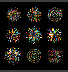 firework different shapes colorful festive vector image vector image