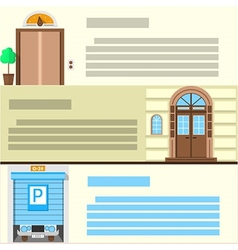 Flat color icons set for entrance vector image vector image