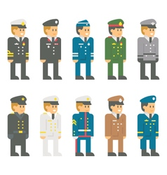 Flat design soldier uniform set vector image